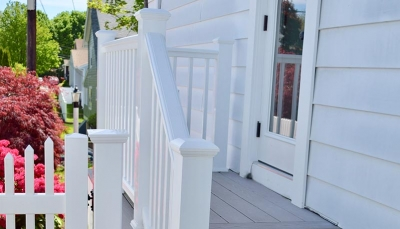 Exterior entry porch with composite decking | Hanson Massachusetts